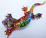 ThaiCarv Schöne Kunst Farbe Mundgeblasenes Glas, Gecko Eidechse, Dekoration Länge 10,9cm