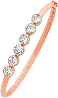 Bevilles 9ct Rose Gold Silver Infused 6 Bezel Cubic Zirconia Oval Bangle