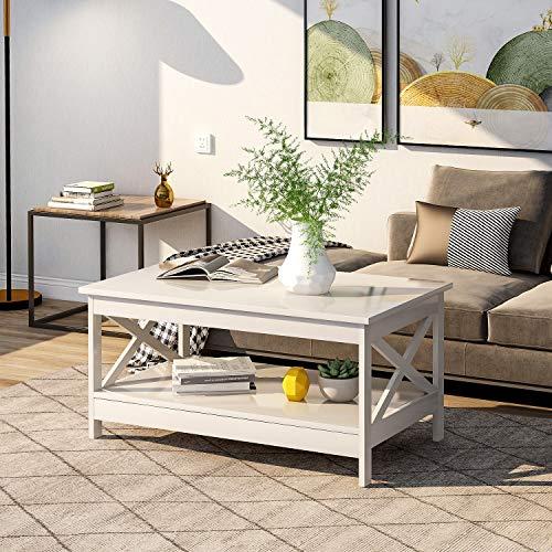 Flieks Couchtisch Holz Beistelltisch mit Lagerregal Wohnzimmer Wohnzimmertisch Beistelltisch Holztisch Kaffeetisch Tisch Modern X Design 100 x 60 x 47 cm (Weiß)