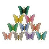 QUMAO 10pcs Ecusson Thermocollant Patch Brodé Papillon Broderie Multicolor Appliqué à Coudre pour Décoration Vêtements DIY