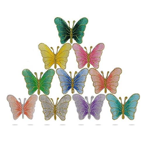 10 pcs Parches Bordados de Mariposa Termoadhesivos Parches Apliques para Ropa Decoración Chaquetas Vestidos Cazadoras Vaqueros