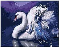 DIYデジタル油絵白鳥ユニークなギフトデジタル油絵キャンバス上のデジタル大人の装飾画現代の抽象的な油絵40x50cmフレームレス