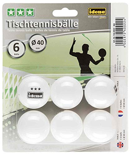 Idena 7440022 - Tischtennisbälle 6 Stück in weiß, Durchmesser 40 mm nach ITTF Wettbewerbsrichtlinien, 3 Stern Qualität, für den Verein, in der Freizeit und Hobbysportler