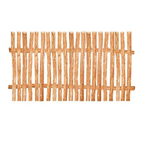 BooGardi Zaunelement Haselnuss • 90 Größen • 120 x 200 cm (3-4 cm) • Staketenzaun Bausatz für Lattenzaun/Bretterzaun aus Haselnuss inkl. Querriegel, Zaunlatten und Schrauben