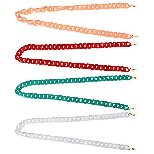 EXCEART 4 Piezas de Gafas de Ojo Cadena de Acrílico Cadenas de Sujeción de Gafas Ajustable Cordón Correa Collar de Cadena para Gafas