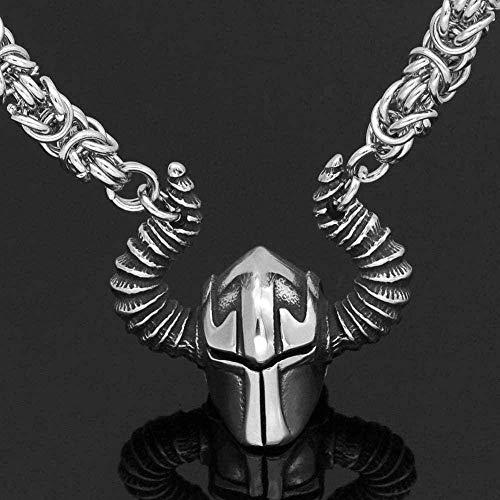 NC110 Moderno Popular Hip-Hop Rock Punk Clásico Retro Charm Collar Hombres Aleación Viking Casco Guerrero Colgante Collar Gran Regalo