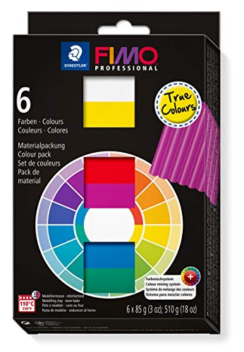 STAEDTLER 8003 01 ST FIMO Professional True Colours Pack of 6 Assorted Colours
