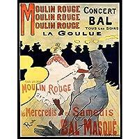 Ad Vintage Lautrec Moulin Rouge La Goulue Mask Ball Art Print Poster Wall Decor 12X16 Inch ビンテージアンリドトゥールーズロートレックマスク玉ポスター壁デコ