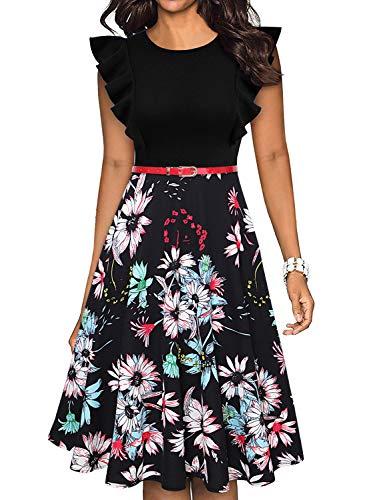 Owin Damen-Rüschenkleid, Patchwork, mit Taschen, Armrüschen, weit, Party-, Cocktailkleid Gr. XX-Large, schwarz / grün