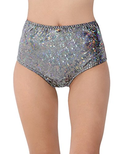 iHeartRaves Electro High Waisted Booty Shorts (Black Hologram,...