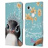 Head Case Designs Licenciado Oficialmente Animal Club International Penguin Royal Faces Carcasa de Cuero Tipo Libro Compatible con Google Pixel 3a