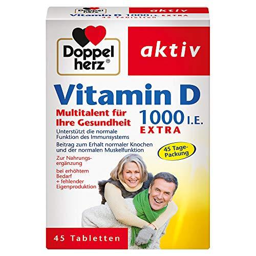 Doppelherz Vitamin D 1000 – Mit Vitamin D als Beitrag zur normalen Funktion des Immunsystems – 45 Tabletten