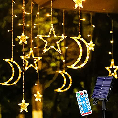 LichtervorhangAussen, Solar Lichterkette Aussen 138 LED Sterne Lichterkette Vorhang 8 Modi Wasserdichte IP44 Lichterkettenvorhang für Außen & Innen Deko, Weihnachten, Schlafzimmer, Garden, Yard