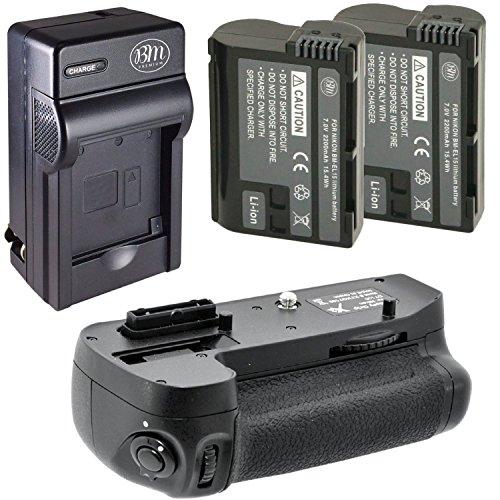 Battery And Charger Kit for Nikon D7100, D7200 Digital SLR Camera Includes Vertical Battery Grip + Qty 2 Replacement EN-EL15 Batteries + Rapid AC/DC Charger