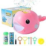 Herefun Máquina de Burbujas Portátil, Bubble Mania Bubble Whale Máquina Automática para Hacer Burbujas, Máquina de Burbujas de Ballenas, Juguetes Ideales para niños (Rosado)