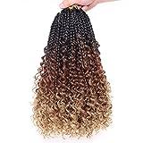 Unionbeauty 8 Packs 14 Inch Boho Box Braids Crochet Hair with Curly Ends Bob Bohemian Hippie Braids Pre-looped Messy Goddess Box Braids Hair Ombre Synthetic Braiding Hair Extension for Black Woman 53#