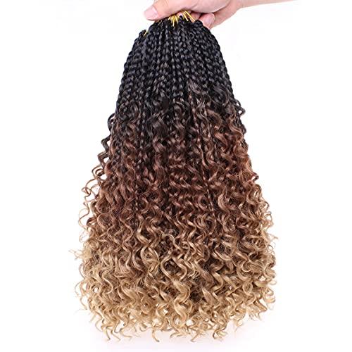 Unionbeauty 8 Packs 14 Inch Boho Box Braids Crochet Hair with Curly...