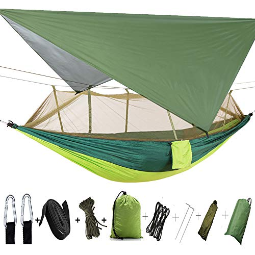 TOPCHANCES Camping Hammock with Mosquito Netting,Premium Quality Portable Leightweight Single &Double Nylon Hammock Rainfly Tent Tarp,Tree Straps, Carabiners