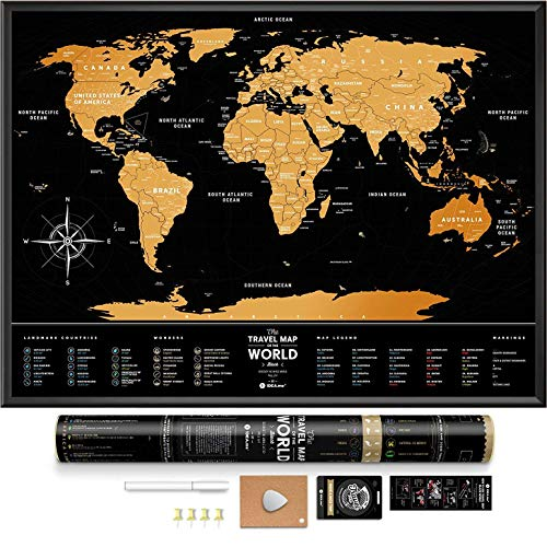 Black Scratch Off World Map - Premium Edition - 31.5' x 23.6' - Rewritable Places I've Been Travel...
