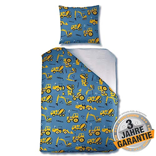 Aminata Kids Bettwäsche-Set Bagger-Motiv Jungen 135 x 200 cm + 80 x 80 cm aus Baumwolle mit Reißverschluss, unsere Kinder-Bettwäsche mit Baustellen-Motiv ist kuschelig, blau, gelb, Betonmischer