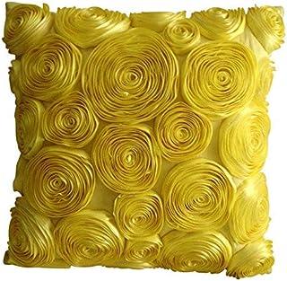Jaune Jettent Des Oreillers Couvrent, Yellow Ribbon Fleur Rose Thème Floral 45x45 cm Taie D'Oreiller Jet, Soie Oreillers C...
