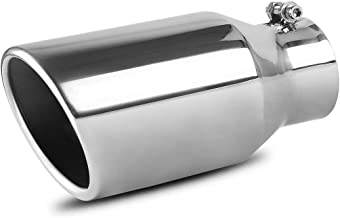 AUTOSAVER88 3 Inch Inlet Exhaust Tip, 3 x 4.5 x 9 Inches Chrome Polished Stainless Steel Exhaust Tip, Bolt On Design.
