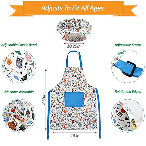 32Pcs Kids Chef Role Play Costume Cooking Set with Apron, Chef Hat, Cooking Supplies, Utensils and Recipes for Boys and Girls Ages 5-10 Years old