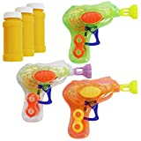 com-four 3X Mini Pistola de Burbujas de Jabón con luz LED en Colores Diferentes - Máquina de Pompas de Jabón de Plástica para Niños y Adultos - Bubble Gun para Fiestas Infantiles (03 Piezas - Mix1)