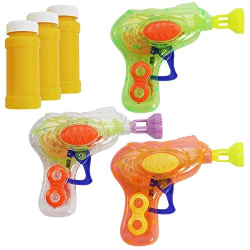 com-four® 3X Mini Pistola Sparabolle di Sapone con Luce LED in Colori Diversi - Macchina Sparabolle di Sapone in Plastica per Bambini e Adulti - Bubble-Gun per Feste Infantili (03 Pezzi - Mix1)