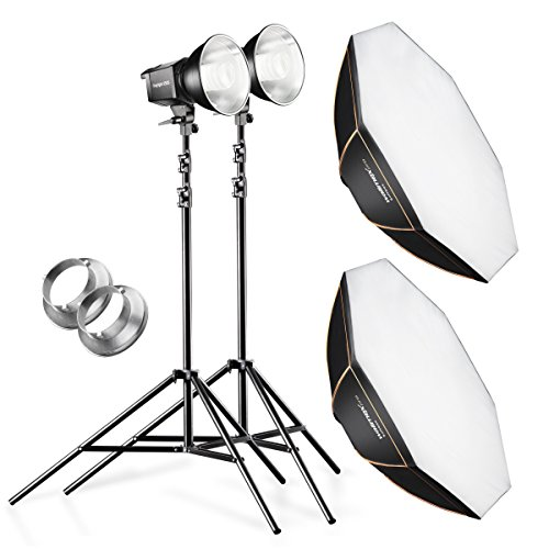 Walimex Daylight-Studioset (2x 250SWatt Daylight inkl. Octagon Softbox 45 cm, 2x Lampenstativ)