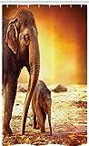 ABAKUHAUS Zoo Schmaler Duschvorhang, Mutter-Baby-Elefant-Familie, Badezimmer Deko Set aus Stoff mit Haken, 120 x 180 cm, Orange Braun