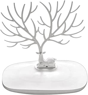 PIXNOR Jewelry Organizer Hanging Bracelet Necklace Stand Holder Ring Tray Decorative Deer Antler Tree Design White)