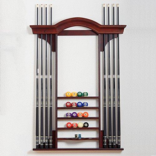 """Billiard-Royal Billard Queue Wandhalterung """"301B"""" für bis zu 8 Billardqueues in Dunkle Kirsche passend zu unserem Billardtischmodell: Portos"""