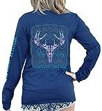 Southern Attitude Stay Sassy Paisley Deer Skull Women's Long Sleeve Shirt (Large) Navy Blue