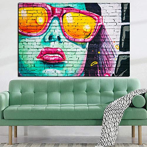 tzxdbh HD-print Graffiti Stree Art Dames gezicht met zonnebril olie verf op canvas Pop Art Abstract Wall Afbeelding voor de woonkamer 60x100cm Geen frame