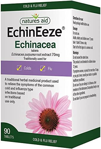 Natures Aid EchinEeze Echinacea, Relief of Symptoms of the Common Cold, Vegan, 90 Tablets