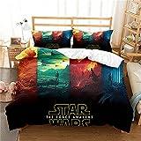 Revna Juego de ropa de cama de Star Wars, funda nórdica de 135 x 200 cm, con impresión 3D, de microfibra, funda de almohada adecuada para niños y niñas (3,220 x 240 + 50 x 75 cm)