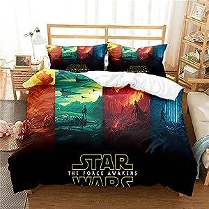Revna Juego de ropa de cama de Star Wars, funda nórdica de 135 x 200 cm, con impresión 3D, de microfibra, funda de… 9