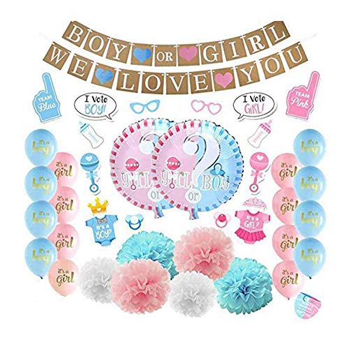 Baby Gender Reveal Party Supplies for Baby Shower Boy or Girl Kit - 57 Pieces - Includes 36 Inch Gender Reveal Balloon with Confetti and Tassel, Boy Or Girl Banner, We Love You Banner, 30 Photo Props