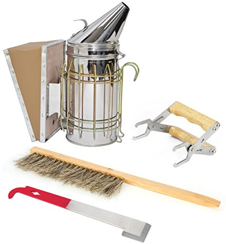 VIVO Beekeeping Starter Tool Kit, Set of 4, Bee Hive Smoker, Brush, Frame Grip, and Stainless Steel J-Hook Lifter Equipment BEE-KIT2