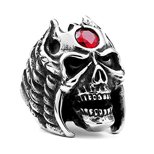Serired Anillo Calaveras Armadura Plumas Acero Inoxidable 316L Hombre con Piedras Rojas, Banda Personalizada Punk Biker Jewelry,13