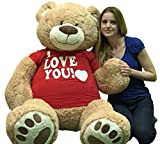 Giant Teddy Bear with I Love You T-Shirt - Huge 5-Foot Plush Teddybear - Stuffed Animal - Loving Gift - OSO de Peluche - Cute Oversized Plushie - Jumbo Bear to Show You Care - Big Plush