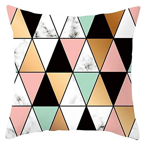 KnBoB Funda Cojin 50 x 50 cm Triángulo Patrón Mármol Poliéster Negro Naranja Rosa Estilo 8