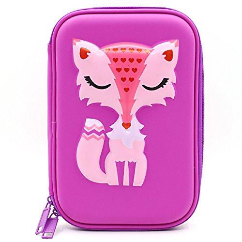 SOOCUTE Elegant Fox Hardtop Pencil Holder Cute EVA Pencil Case with Big Capacity for Kids (Purple)