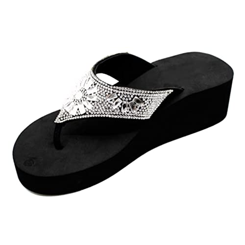 35f996ef0fb3 TravelNut Special Mother Day Sale Arla Black Platform Wedge Rhinestone  Tstrap Sundress Flip Flop Sandals for
