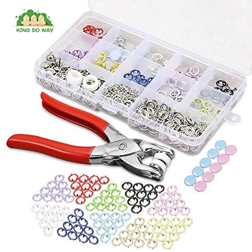 KING DO WAY 110 Set Druckknöpfe, Druckknopf kit Werkzeug mit Zangen Set, Nähfrei Buttons in 10 Farben Werkzeug, für DIY Basteln Kleidung nähen Handwerk