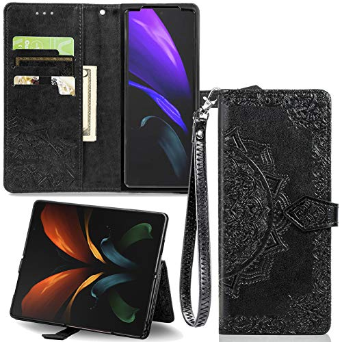 FANUBA for Z Fold 2 5G Wallet Phone Case, Trendy Mandala Embossed PU Leather with Viewing Stand Card Slots [Bling Rhinestone Flip Cover ] for Samsung Z Fold 2 5G- Black