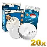 20x Nemaxx FL2 Rauchmelder - hochwertiger Rauchwarnmelder nach EN 14604 mit sensibler fotoelektrischer Technologie + 20x Nemaxx NX1 Quickfix Befestigungspad