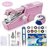 O-Kinee Handnähmaschine Mini Handheld Nähmaschine Tragbar Elektrische Handnähmaschine Schneller Handlicher Stich für Stoff Kleidung Kindertuch (Rosa)