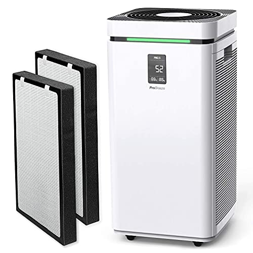 Pro Breeze Large Air Purifier HEPA 13 Filter & 2x Replacement Filters - WiFi and Smart App Air Purifier - HEPA Air Purifiers for Home Office 2000 Sq Ft Coverage, 800 CADR